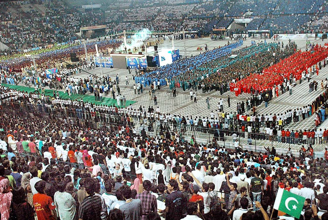 Around 70,000 participants of the Punjab Youth Festival joined voices to break the world record for the most people singing a national anthem simultaneously.  - Photo by APP