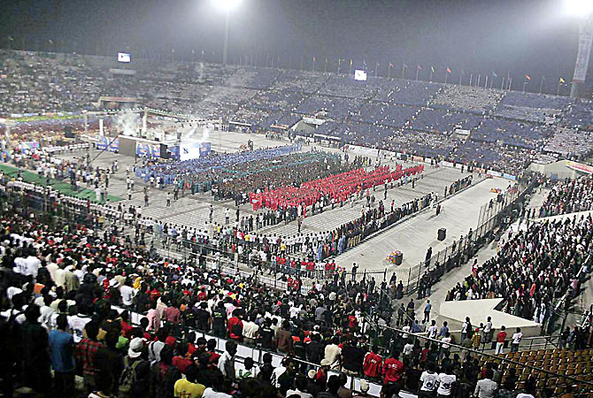 An aerial view of the stadium where around 70,000 participants of the Punjab Youth Festival joined voices to break the world record for the most people singing a National Anthem simultaneously at National Hockey Stadium. - Photo by INP