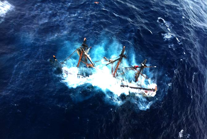 The HMS Bounty, a 180-foot sailboat, submerged in the Atlantic Ocean during Hurricane Sandy approximately 90 miles southeast of Hatteras, N.C. The Coast Guard rescued 14 of the 16 crew members by helicopter. Hours later, rescuers found one of the missing crew members, but she was unresponsive. They are still searching for the captain.-Photo by AP