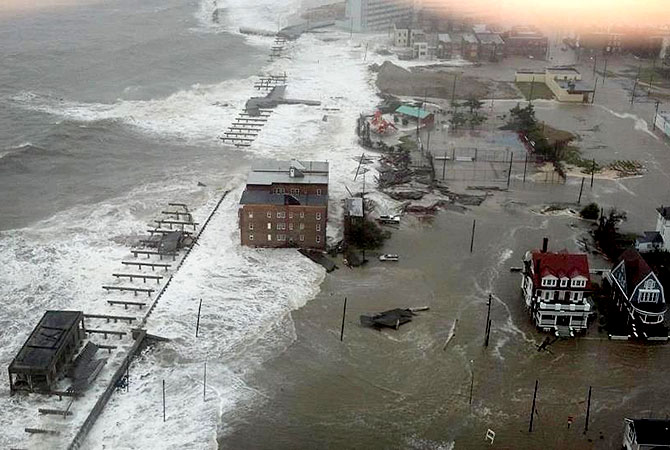 This photo provided by 6abc Action News shows the Inlet section of Atlantic City, N.J., as Hurricane Sandy makes it approach.-Photo by AP