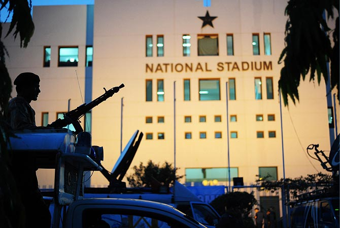 A Pakistani Ranger stands guard outside the National Stadium. -Photo by AFP
