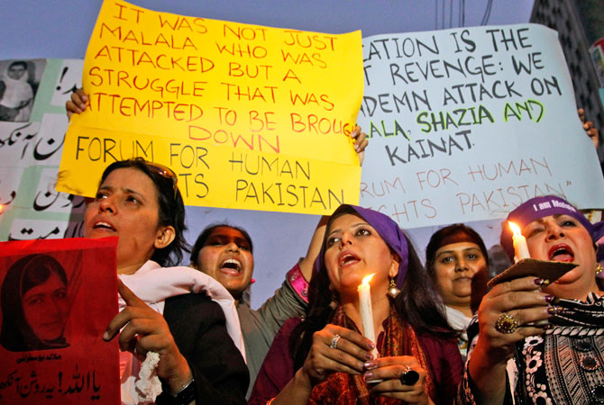Pakistanis chant slogans during a protest to condemn the attack on Malala, who was shot on Tuesday by the Taliban for speaking out in support of education for women, in Karachi, Pakistan, Thursday, Oct. 11, 2012.