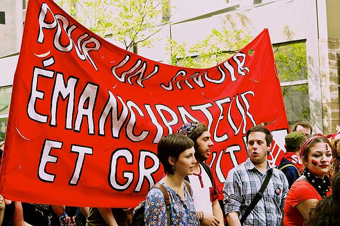 Montreal is Canada's hotspot of politics. Recently the students marched every single day, rain or shine, for three months to demand withdrawal of the small increase in tuition. Finally they succeeded. Now they are demanding an end to any tuition fee!
