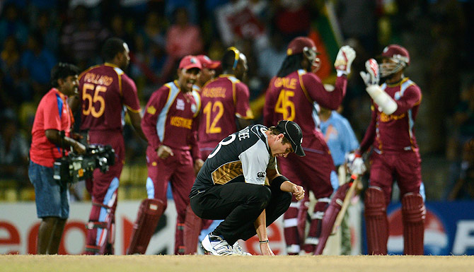 New Zealand's Tim Southee looks down at the ground after the West Indies defeated New Zealand in their Twenty20 World Cup Super 8 cricket match at Pallekele, Sri Lanka October 1. - Photo by Reuters