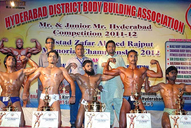 A group photo of the prize winner bodybuilders after the Mr and Junior Mr Hyderabad competition, organized by Hyderabad District Body Building Association at Dialdas Club.- Photo by APP