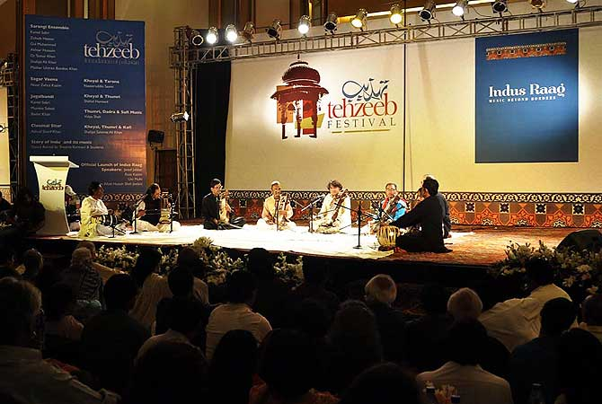 Artists performs during the Tahzeeb Festival in Karachi.?Photo by APP