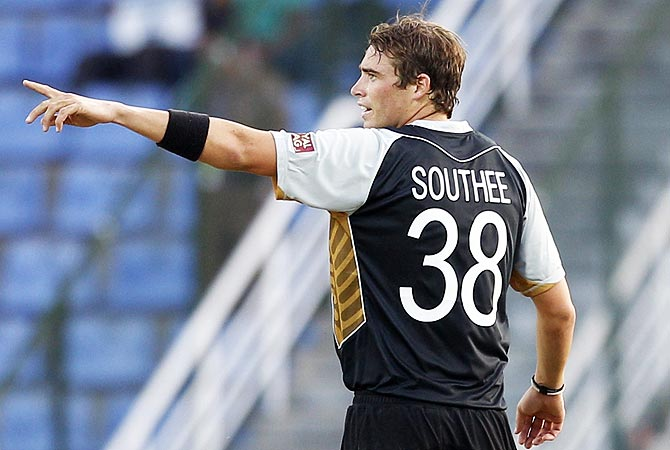 Tim Southee celebrates the dismissal of West Indies' captain Darren Sammy. -Photo by AP