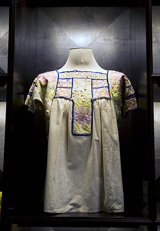 A regional huipil blouse used by Mexican painter Frida Khalo are exhibited at her museum in Mexico City. ? AFP Photo