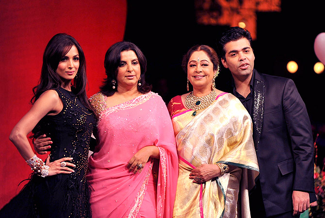 (L/R): Indian Bollywood actress Malaika Arora Khan, Farah Khan, Kirron Kher and director Karan Johar, judges of television show ?India's Got Talent? pose in Mumbai . ? AFP Photo