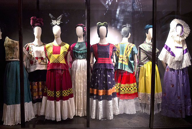 Regional Tehuana dresses, including a blouse called huipil and a skirt, used by Mexican painter Frida Khalo are exhibited at her museum in Mexico City. The clothes, shoes, jewelry and headdresses chosen by the painter -wife of Mexican painter Diego Rivera, and who has inspired internationally renowned fashion designers- can be seen at their home Museum at the exhibition 'Appearances can be Deceiving', which includes blouses with colorful prints and long skirts, typical of the region of Oaxaca, south of Mexico City.