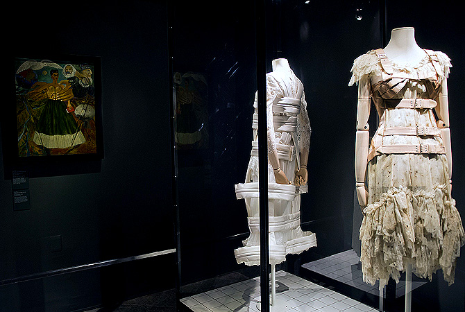 Corsets designed by Dai Rees and Rei Kawakubo inspired on Mexican painter Frida Khalo are exhibited at her museum in Mexico City. ? AFP Photo