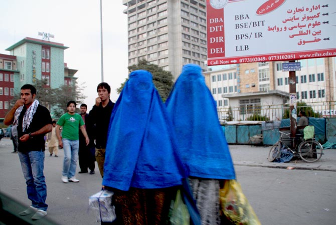 The shuttlecock burqas are getting shorter with time. One sees even men looking down upon women in burqas. The younger generation prefers wearing western clothes with head scarves.