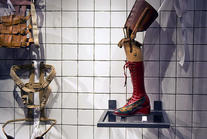 Prosthesis and corsets used by Mexican painter Frida Khalo are exhibited at her museum in Mexico City. ? AFP Photo