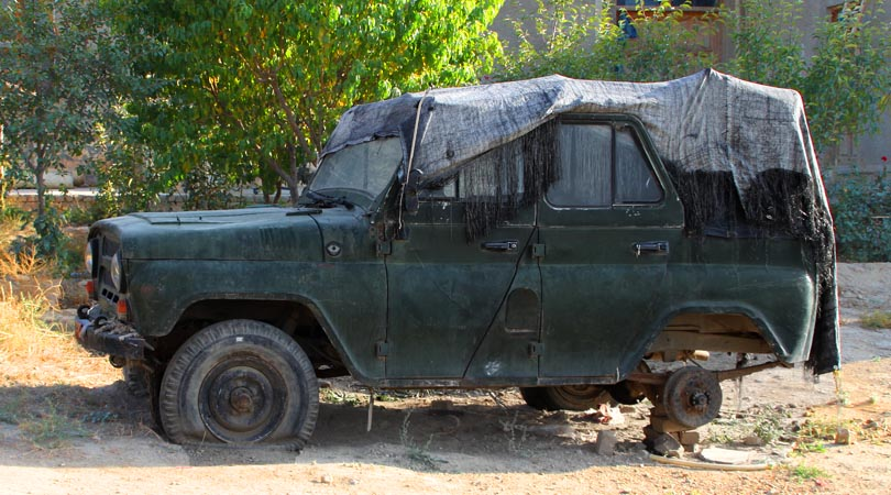 This old car is a reminiscent of Russians. It is parked in a private property of a friend outside Kabul city.