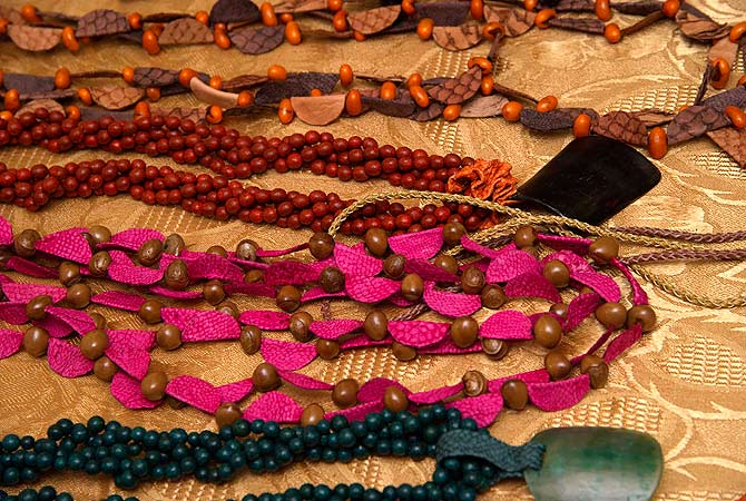 Jewellery made from treated fish skin, by Esther Nunez of Argentina, are displayed in Puerto Lopez.? Reuters Photo