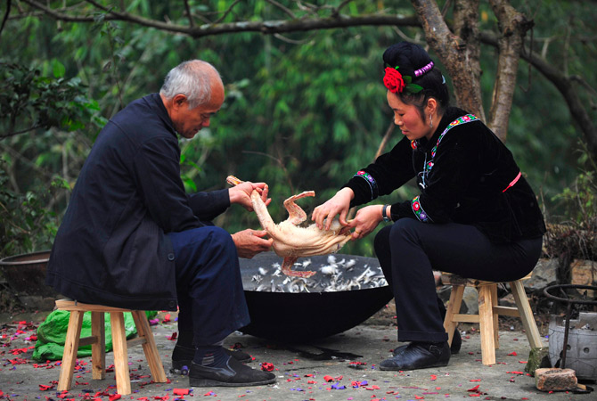 The Miao believe wooden drums made of maple trees are where their ancestors' souls rest.