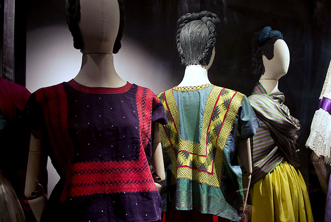 Regional Tehuana dresses, including a blouse called huipil and a skirt, used by Mexican painter Frida Khalo are exhibited at her museum in Mexico City. ? AFP Photo