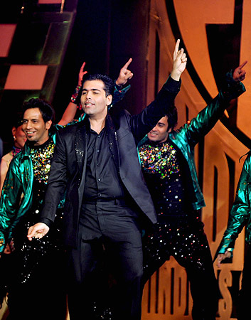 Indian Bollywood director Karan Johar, a judge of television show  ?India's Got Talent? performs a dance routine in Mumbai . ? AFP Photo