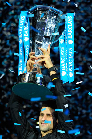 Novak Djokovic produced a masterful display to end Roger Federer's reign as ATP Tour Finals champion as the world number one swept to a 7-6 (8/6), 7-5 victory in the final on Monday