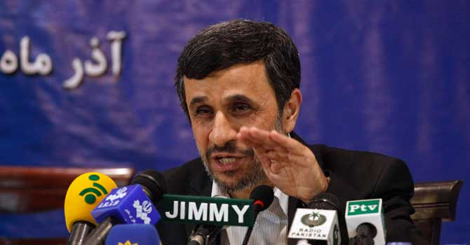 Iran's President Mahmoud Ahmadinejad speaks during a media conference. — Photo by Reuters