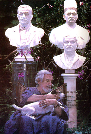 In the garden with Billie, his Jack Russel terrier, and in the company of (L-R) Nadirshah Eduljee Dinshaw, Eduljee Dinshaw, and Hormusjee Jemsetjee Rustomjee. – Photo courtesy Sama Books