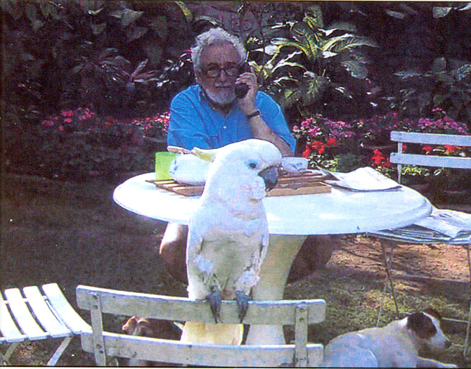 Home with cockatoo Ben, and Billie. – Photo courtesy Sama Books