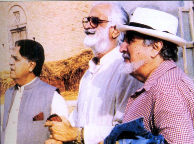With Akbar Bugti and EIahi Bukhsh Somroo, former Speaker of the National Assembly. – Photo courtesy Sama Books