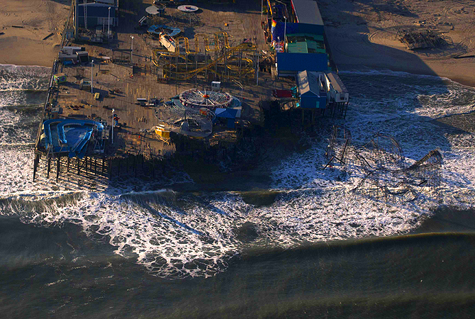 The Casino Pier amusement park is seen destroyed in this aerial view over Seaside Heights, New Jersey, almost a month after the area was hit by Hurricane Sandy.?Photo by Reuters