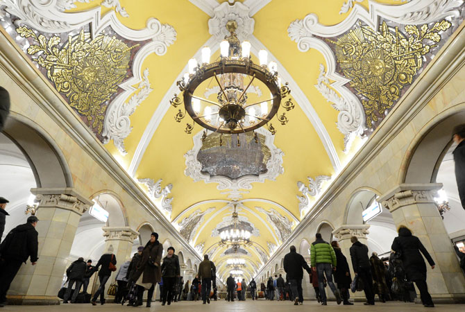 A general view of Komsomolskaya metro station of the Koltsevaya Line in Moscow subway. The station was opened in 1952.