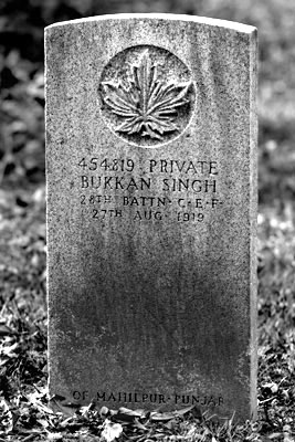 The gravestone of Private Buckam Singh. – Photos courtesy Sikh Museum
