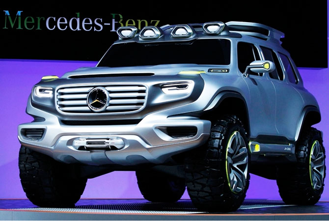 The Mercedes-Benz Vision Energy Force concept truck vehicle comes on stage at the 2012 Los Angeles Auto Show in Los Angeles, California November 28, 2012.