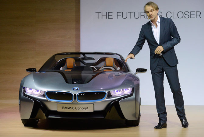 Adrian van Hooydonk, Senior Vice President, BMW Group Design, speaks during a news conference unveiling the BMW i8 concept car at the 2012 Los Angeles Auto Show in Los Angeles, California November 28, 2012.