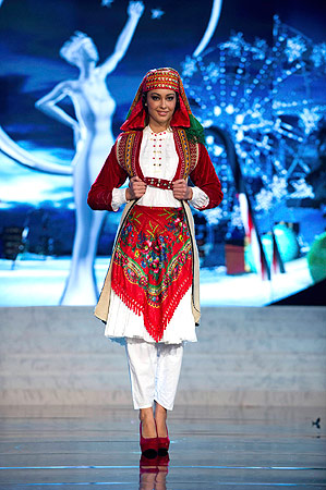 Miss Albania Adrola Dushi performs onstage at the 2012 Miss Universe National Costume Show at PH Live in Las Vegas, Nevada December 14, 2012. ? Reuters Photo