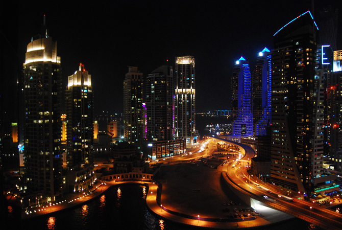 View of Dubai Marina at night.- Photo by Mahjabeen Mankani/Dawn.com