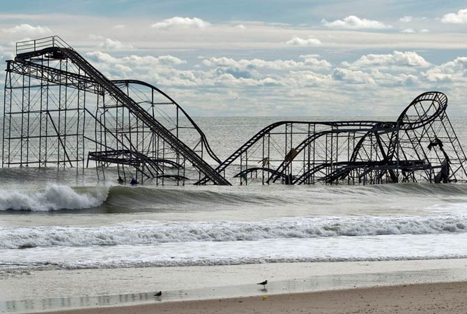 The remnants of a roller coaster sit in the surf three days after Hurricane Sandy came ashore in Seaside Heights, New Jersey November 1, 2012.