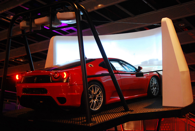 One of the rides where you can virtually drive a Ferrari at Ferrari World in Abu Dhabi.- Photo by Mahjabeen Mankani/Dawn.com