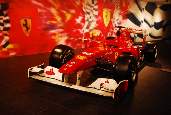 At the main entrance at the  Ferrari World in Abu Dhabi.- Photo by Mahjabeen Mankani/Dawn.com