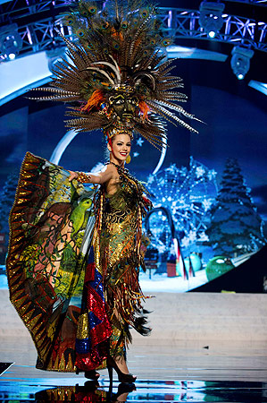 Miss Ecuador Carolina Andrea Aguirre Perez performs onstage at the 2012 Miss Universe National Costume Show at PH Live in Las Vegas, Nevada December 14, 2012. ? Reuters Photo