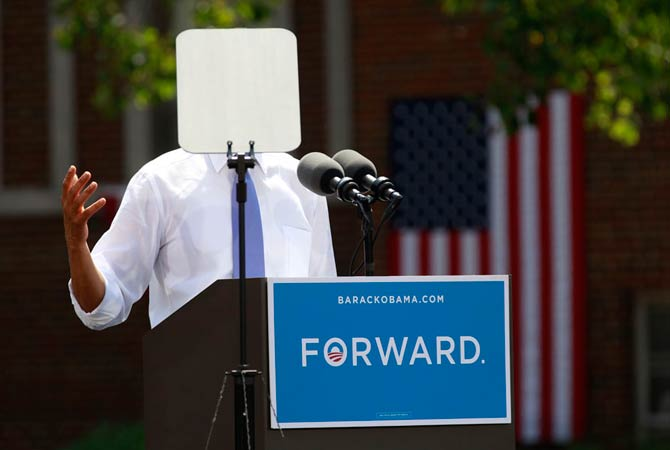 A teleprompter obscures U.S. President Barack Obama as he speaks during a campaign event at Capital University in Columbus, Ohio August 21, 2012.