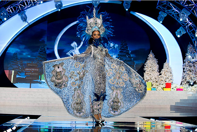 Miss Nicaragua 2012 Farah Eslaquit performs at the 2012 Miss Universe National Costume Show of the 2012 Miss Universe Presentation Show on December 14, 2012 in Las Vegas. ? AFP Photo