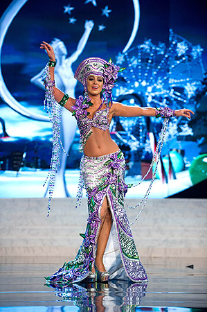 Miss Costa Rica 2012 Nazareth Cascante performs at the 2012 Miss Universe National Costume Show of the 2012 Miss Universe Presentation Show on December 14, 2012 in Las Vegas. ? AFP Photo