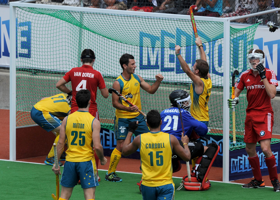 Jacob Whetton of Australia celebrates after scoring a goal against Belgium during their men's hockey match at the Champions Trophy in Melbourne on December 1, 2012. ? Photo by AFP