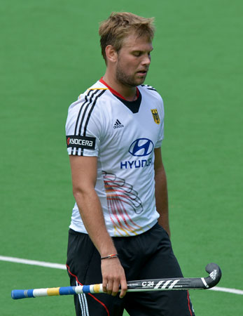 Captain Moritz Fuerste of Germany leaves the pitch after his team lost the first quarter final to Pakistan at the Men's Hockey Champions Trophy in Melbourne on December 6, 2012. Pakistan beat the number one 1 ranked Germany 2-1. ? Photo by AFP