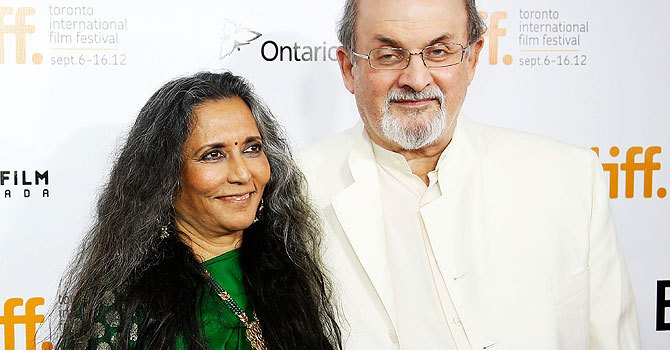 "Director Deepa Mehta (L) and writer Salman Rushdie arrive at the ""Midnight's Children"" Premiere at the 2012 Toronto International Film Festival. – Photo by AFP"