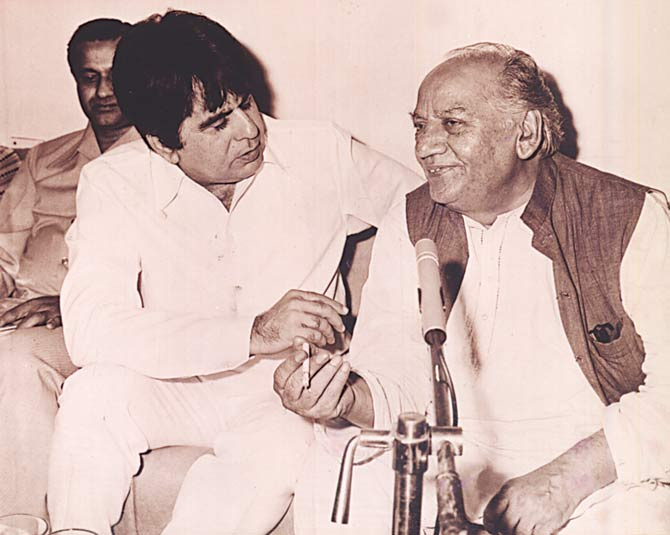 Dilip Kumar with his favourite poet Faiz Ahmed Faiz. - File photo courtesy author