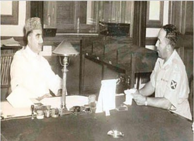 Veteran Muslim League leader, Sardar Nishtar (left) in a meeting with General Azam Khan in 1954. General Azam was instrumental in crushing the anti-Ahmadi riots in Lahore in 1953 and arresting JI and Ahrar leaders.