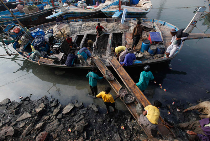 Fishermen unload baskets of fish from a boat in Ibrahim Hyderi fish harbour, some 17 km (11 miles) from Karachi December 7, 2012.