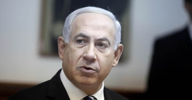 Israeli Prime Minister Benjamin Netanyahu attends the weekly cabinet meeting at his offices in Jerusalem on Dec 2, 2012. Israel is halting the transfer of tax and tariff money it collects for the Palestinians in response to their successful bid for UN non-member observer state status, Israeli media reported. - AFP Photo