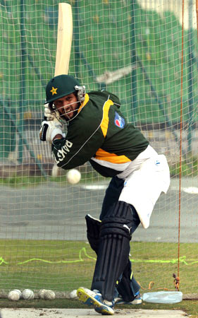 Shahid Afridi bats in the nets. ? Photo by AFP