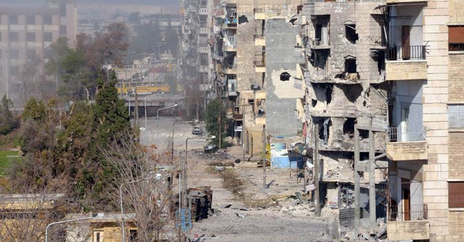 A general view shows destruction in the Bastan al-Basha neighbourhood of Syria's northern city of Aleppo on December 2, 2012.  Syrian rebels virtually cut off roads to Aleppo from neighbouring Raqa province last week, severing regime supply lines as France announced it had earmarked financial aid for the opposition coalition. - AFP Photo